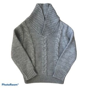 Cableknit Pull-On Long Sleeve Grey Chunky Sweater